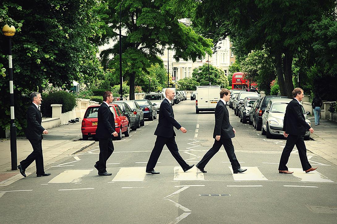 men on crossing