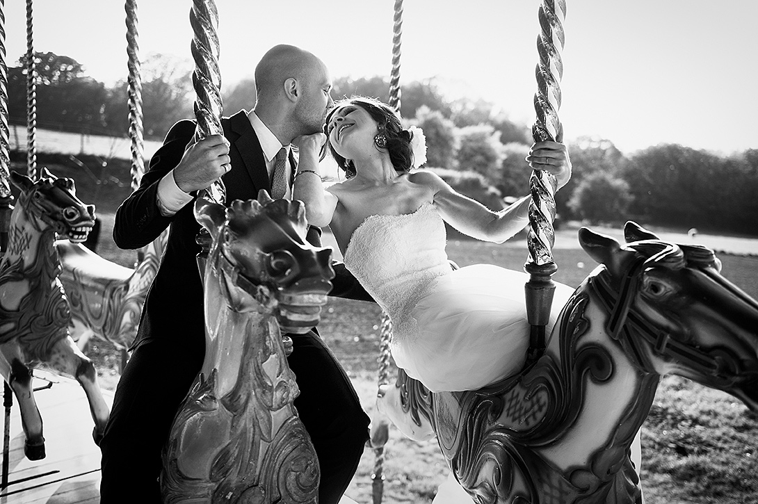 married couple on fairground ride