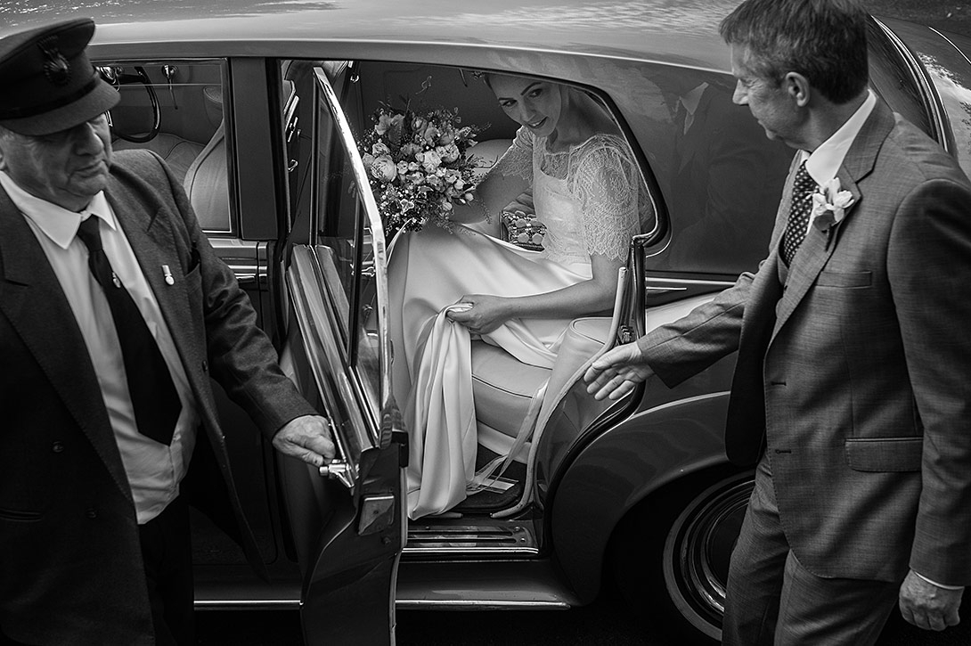 bentley, wedding dress, father of the bride, chauffeur